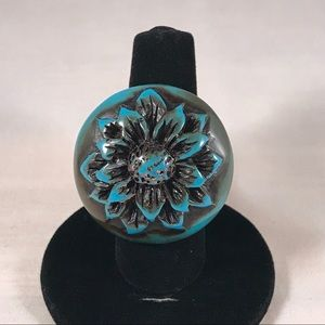 Big Bold Turquoise w/ Brown Flower Statement Ring